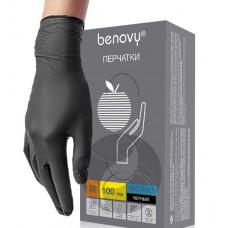 Перчатки нитриловые нестерильные неопудренные текстурированные на пальцах черные BENOVY, 100 пар